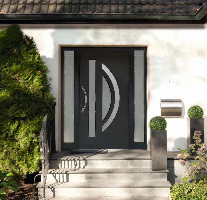 Porte d 39 entr e en aluminium isol cg atelier luxembourg Porte d entree securisee